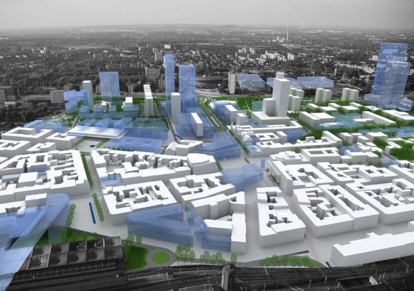 Vision of the City Centre in Katowice - panorama in the northern direction – Coordination Plan for the City Centre by Tomasz Konior, 2008.
