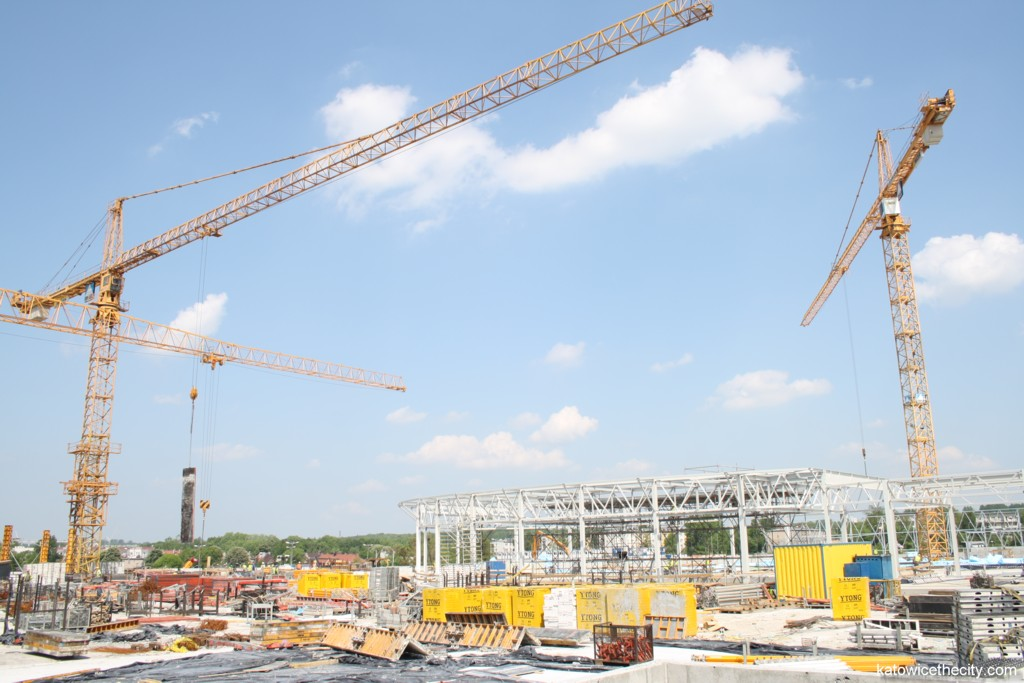 Construction work on the Silesia City Center's extension