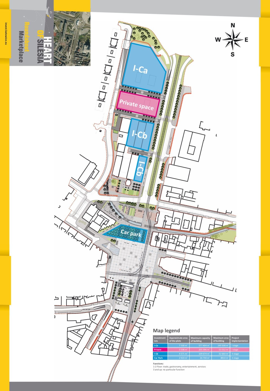 © City Hall of Katowice; map of Market Sqaure - Roundabout area, project of the redevelopment and boarders of the plots