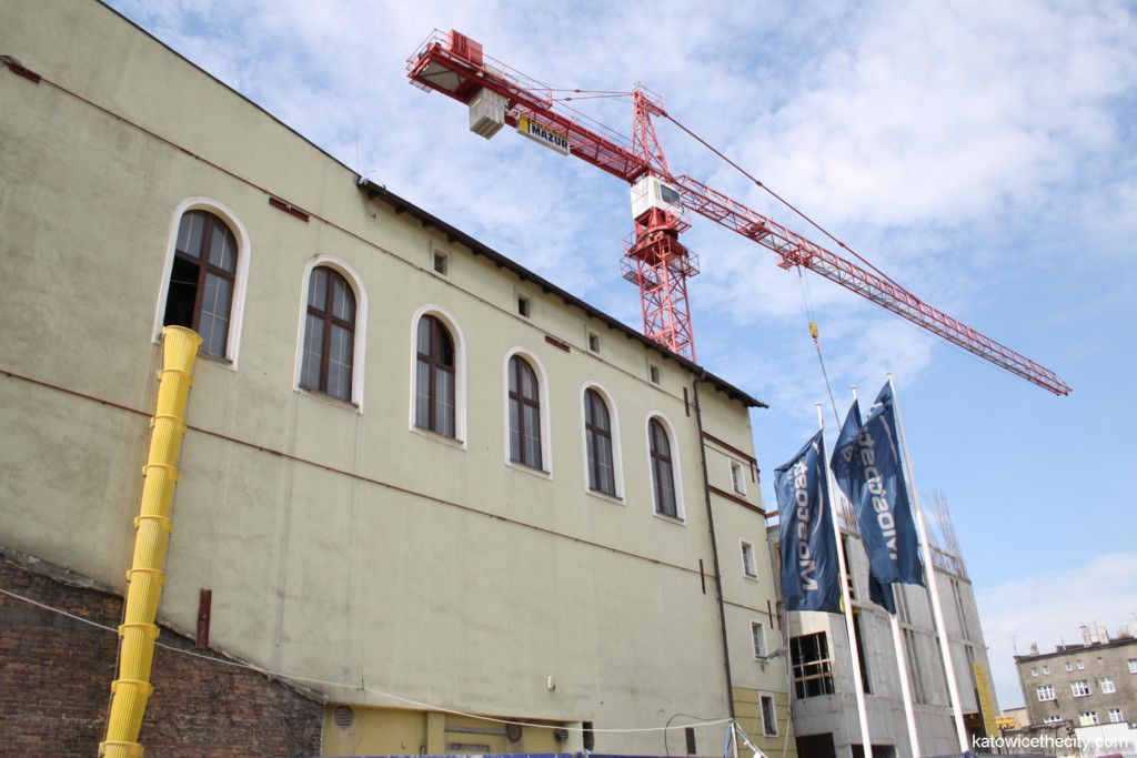 Construction work on the Silesian Philharmonic's extension