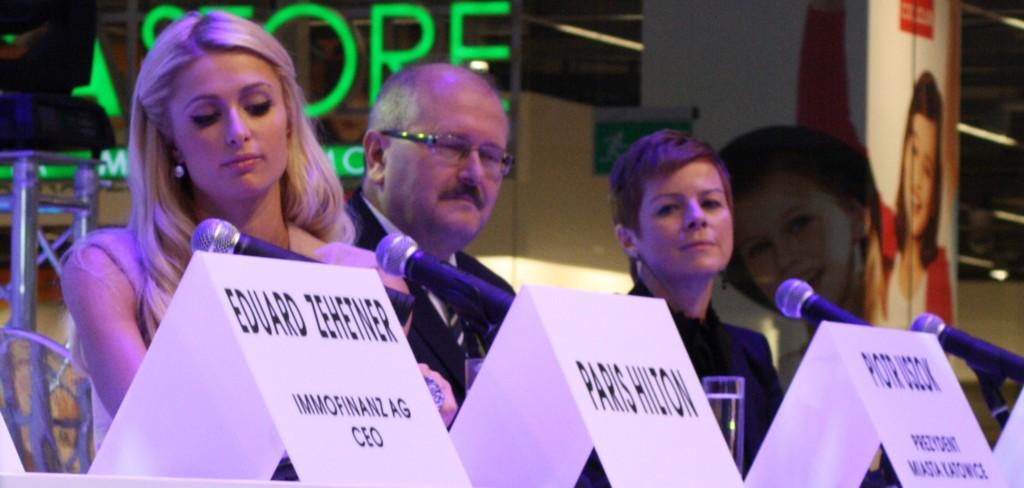 Press conference, L to R: Paris Hilton, Piotr Uszok, Katowice Mayor, Ewa Marcinek, SCC Managing Director