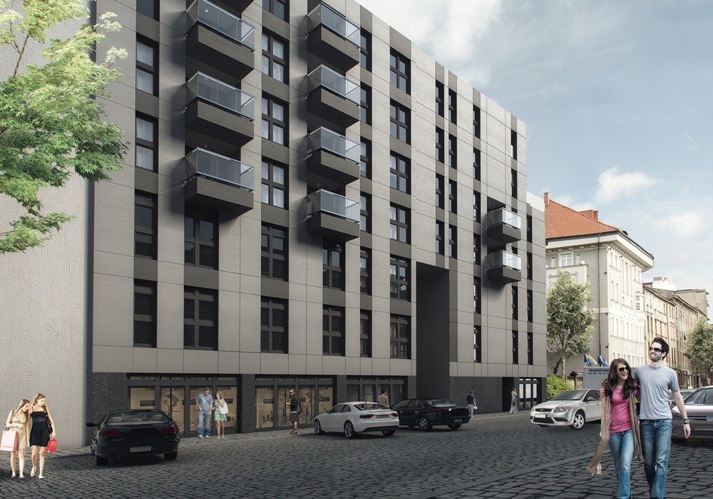 © HM Inwest; mixed-use building at 17 Opolska St., front view