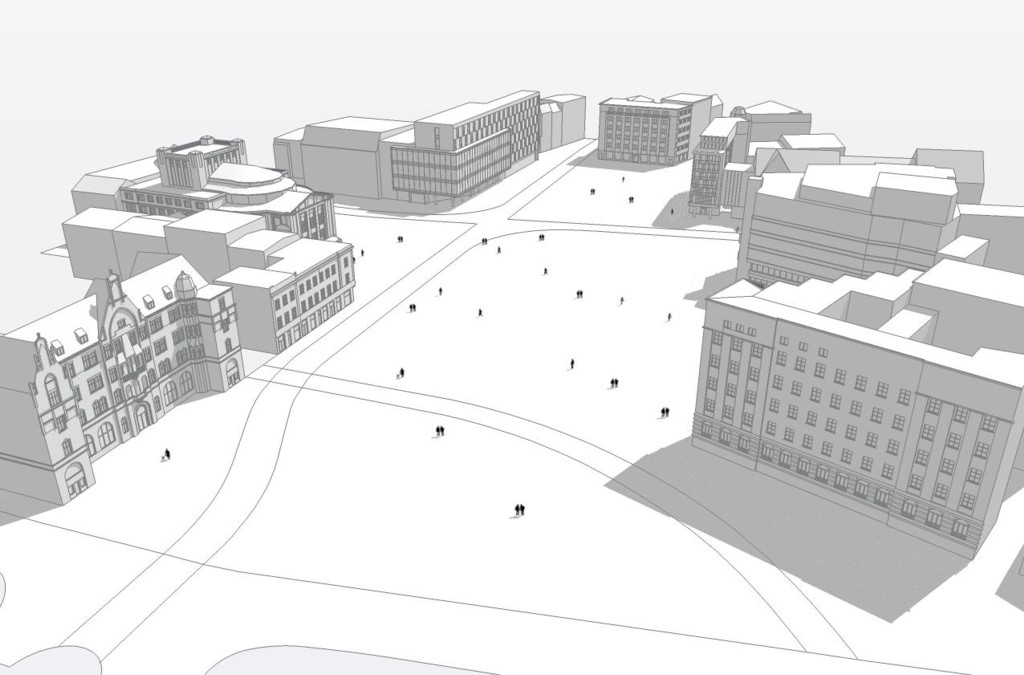 © City Hall of Katowice; screen capture of the 3D model using by the architets preparing the competiton projects