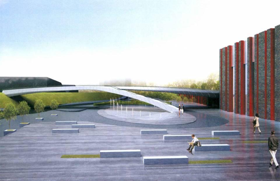 © Konior Studio, footbridge over Olimpijska St., NPRSO's building on the left