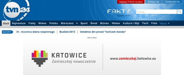 Katowice banner ad on the tvn24.pl website