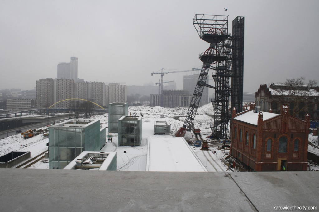 The new seat of the Silesian Museum, view from the administration building's roof, the Polish National Radio Symphony Orchestra's new building under construction at the background