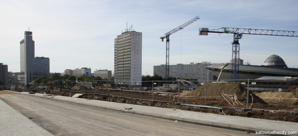 L to R: Altus, DOKP, construction site of the International Convention Center and Spodek at the background