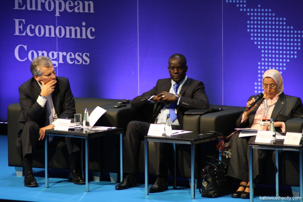 European Economic Congress 2013; L to R: Aleksander Kwaśniewski, El Hadji Malick Gakou - Minister of Commerce, Industry and Informal Sector of Senegal between 2012-2013, Elham Mahmood Ahmed Ibrahim - Commissioner for Infrastructure and Energy, African Union