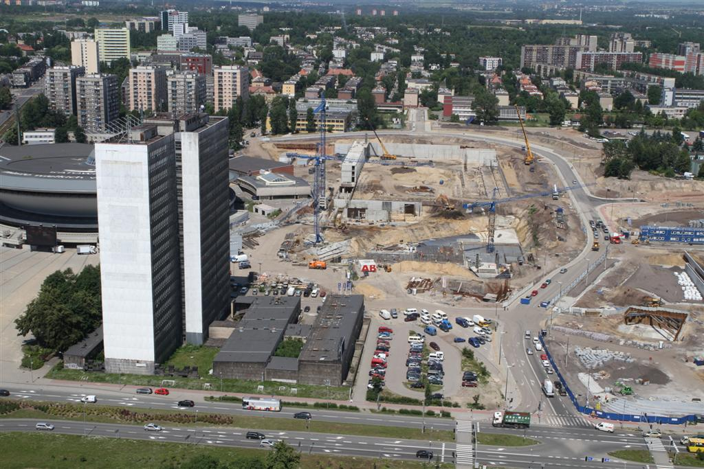 © City Hall of Katowice; DOKP on the left and Spodek at the background, construction site of the International Convention Center on the right