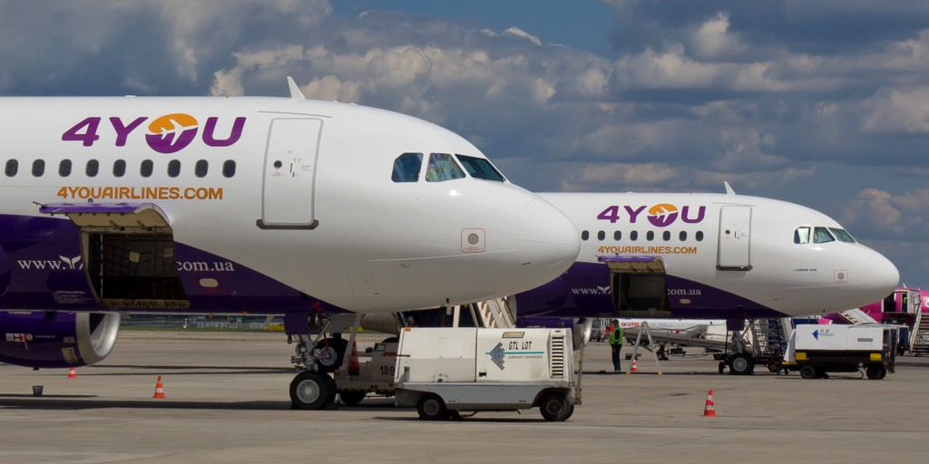© GTL; Airbus A320 aircrafts of 4You Airline at the Katowice International Airport