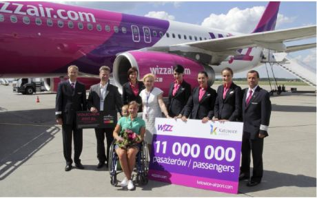 Wizz Air celebrates its 11 millionth passenger at Katowice Airport