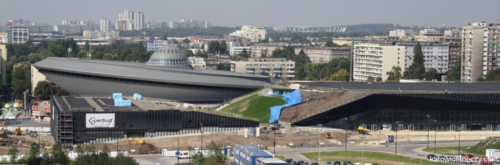 International Convention Center under construction and Spodek at the background (8th of September 2014)
