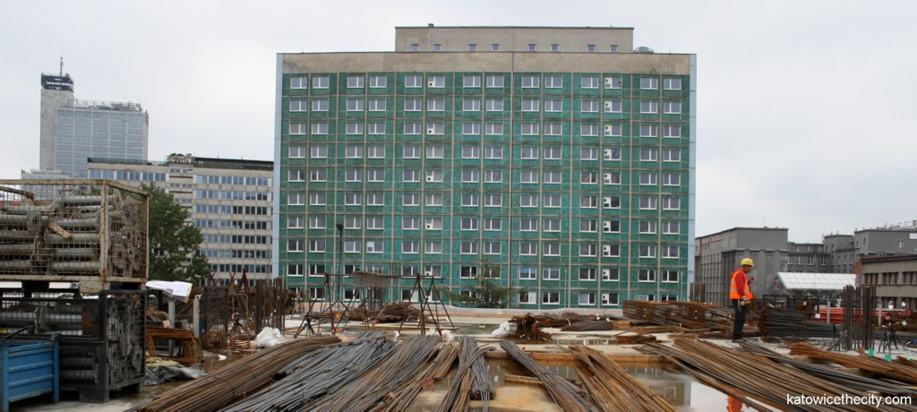 The Silesia Hotel, view from the construction site of the Supersam shopping center