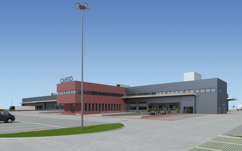 © Upper Silesian Aviation Group; visualization of the new cargo terminal