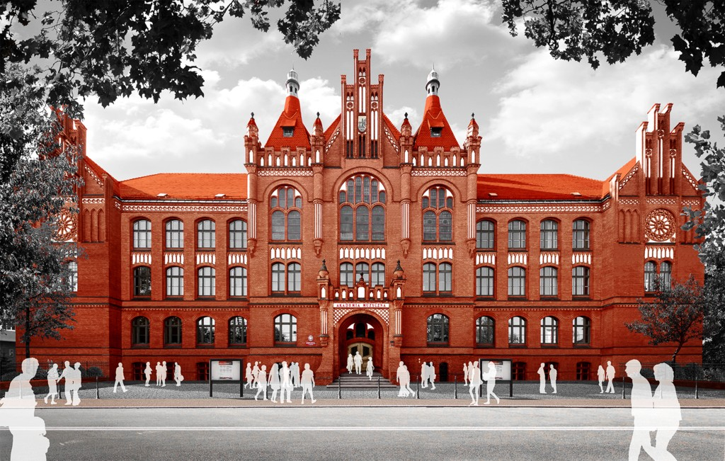 © Academy of Music in Katowice; visualization of the facade of the main building of the Academy of Music