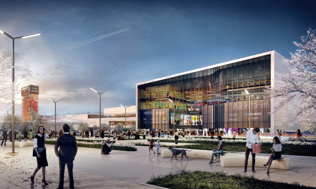 © Echo Investment; visualization of the shopping center to be located at the junction of Kolejowa and Kościuszki streets