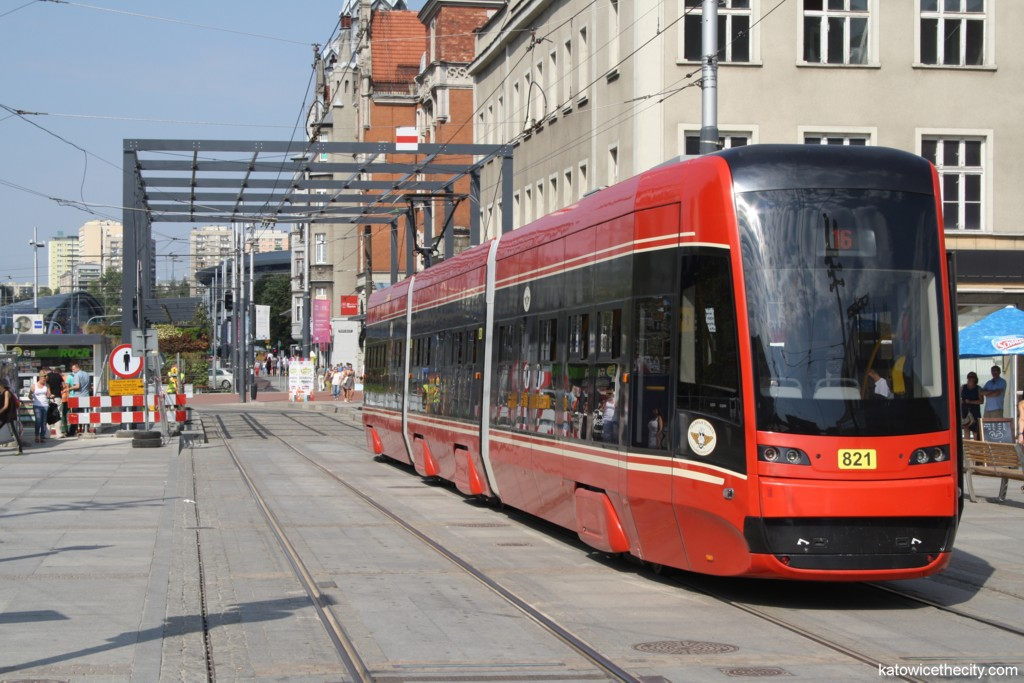 One of Twist trams at the Market Sq. of Katowice