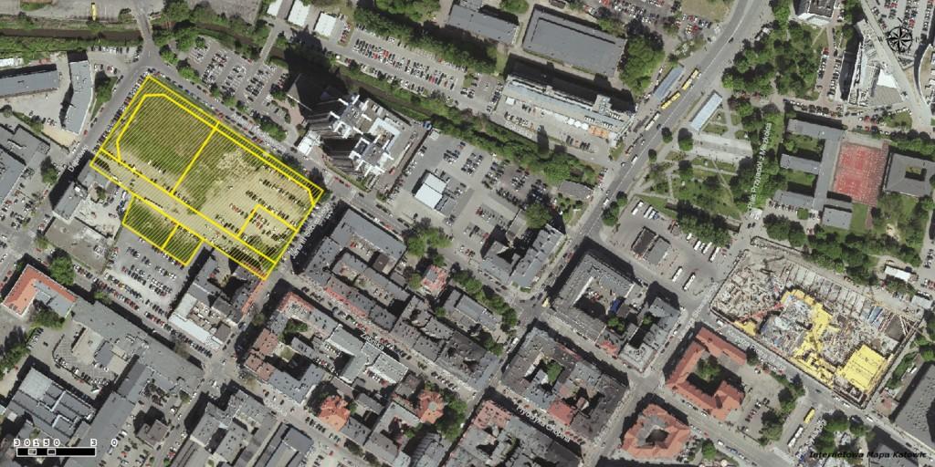 © City Hall of Katowice; property of ZFI Havre located between Mickiewicza, Dąbrówki, Zabrska and Sobieskiego streets