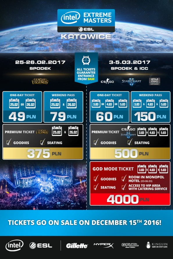 © Intel Extreme Masters; ticket prices for IEM 2017